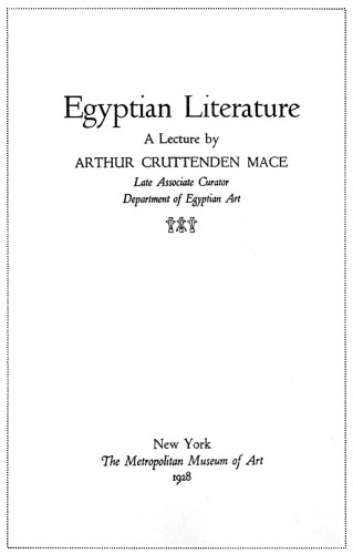 Egyptian Literature: A Lecture