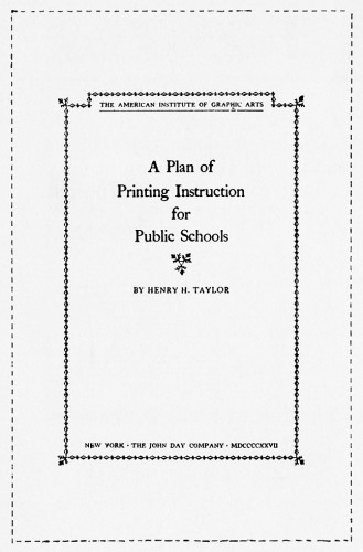 A Plan of Printing Instruction for Public Schools