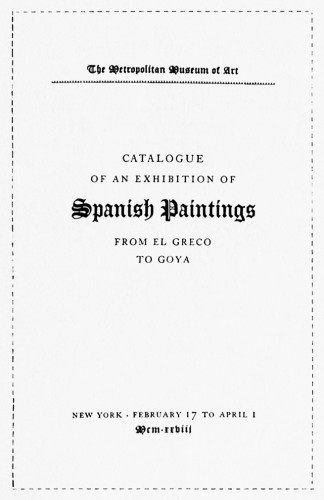Catalogue of Spanish Paintings from El Greco to Goya