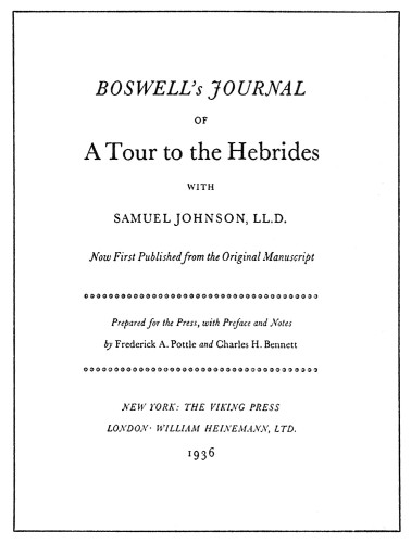 Boswell's Journal of a Tour to the Hebrides with Samuel Johnson, LL.D.