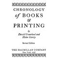 Chronology of Books and Printing